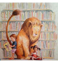 Leone in biblioteca_