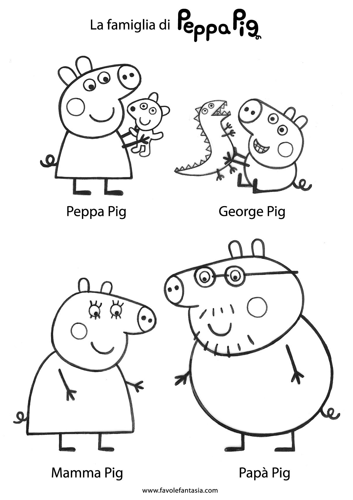 Peppa Pig con George e i suoi tanti amici da stampare e colorare.