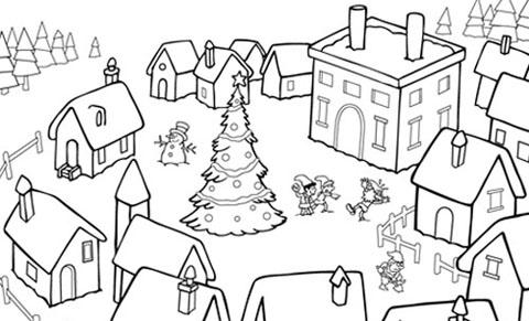 Peppa Pig Babbo Natale Da Colorare.Il Villaggio Di Babbo Natale Da Colorare Favole E Fantasia