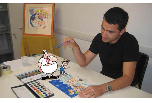 Luca Ciancio a lavoro nel suo studio