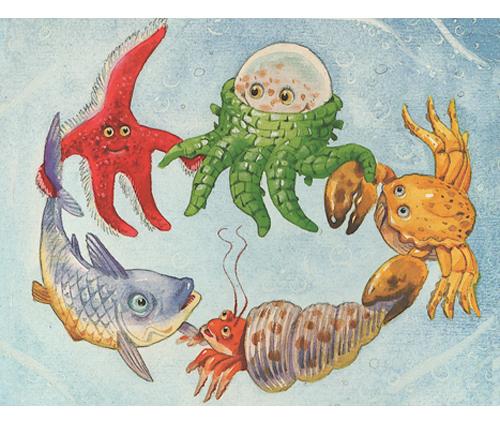 """Illustrazioni di T. Wolf - favola tratta da """"Mare """" Ed. DAMI"""