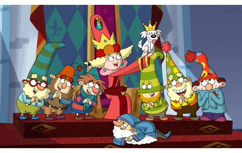 DOC, GRUMPY, SNEEZY, QUEEN DELIGHTFUL, SIR YIPSALOT, SLEEPY, BASHFUL, HAPPY, DOPEY