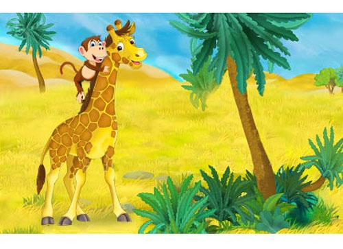 Giraffa scimmia_favola