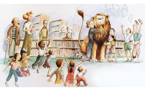 library-lion-book